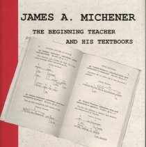 "Image of Book ""James A. Michener The Beginning Teacher and His Textbooks"" by G. L. Dybwad and Joy V. Bliss."