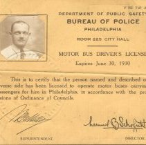 Image of Artifact - Philadelphia Bus Drivers license of Charles F. Hart for the year 1929-1930. The address on the license stated that Mr Hart lived at  295 W. Court Street, Doylestown, PA