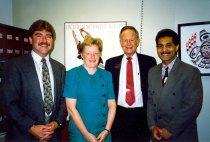Image of Steve Flynn, Ruth Ballweg, Sen. Adams, Ed Lopez, 1991