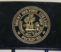 Image of Close-up of seal on Mount Holyoke chair