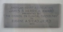 Image of Close-up of plaque on Herrick award