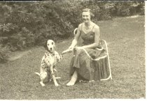 Image of Mrs. Stead with dalmatian
