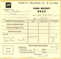 Image of PAM00111 - Hertz France cash receipt