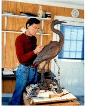 Image of Artist with Great Blue Heron