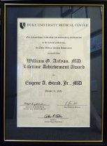 Image of Anlyan Lifetime Achievement Award certificate