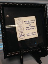 "Image of MUC00004 - Tile imprinted with ""Fouth Annual Conference on New Health Practitioners"" 1976"