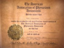 Image of SIC00029 - American Association of Physicians Assistants Certificate 1974