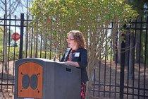 Image of Julie Sherk, architect of Garden, gives remarks