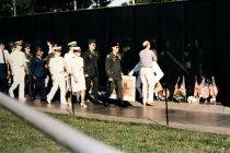 Image of SIC00115 - Veterans Caucus members gather at Vietnam Veterans Memorial, 1989