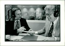 "Image of SIC00360 - George F. ""Rick"" Hillegas (right) being interviewed by Ray Andrewsen"