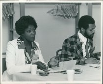 Image of SIC00367 - Joyce Nichols and Steve Turnipseed during a Minority Affairs Committee meeting