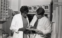 Image of SIC00390 - Joyce Nichols, as a PA Student, Studies EKG Tape
