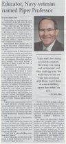 Image of Educator, Navy Veteran Named Piper Professor