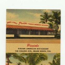 Image of 1989.011.01988 - Picciolo's Restaurant Bar and Pizzeria , Miami Beach , Fla