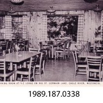 Image of 1989.187.0338 - Dining Room at Y-Z Lodge, Big St. Germain Lake, Eagle River, Wisconsin