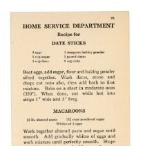 Image of 2009.202.0031 - Home Service Department Recipe for Date Sticks, Macaroons