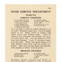 Image of 2009.202.0059 - Home Service Department Recipe for Shrimp Chowder, Broiled Oysters