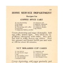 Image of 2009.202.0105 - Home Service Department Recipe for Coffee Spice Cake, Nut Molasses Cup Cake