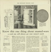 Image of 1989.401.0064 - Armco Ingot Iron, the purest iron made, Know this one thing about enamel-ware - and you will always get your money's worth