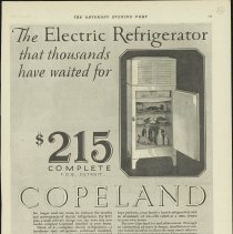 Image of 1989.401.0083 - The Electric Refrigerator that thousands have waited for $215 complete, Copeland Products, Inc. Detroit, Michigan
