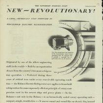 Image of 1989.401.0145 - New - Revolutionary! A long, important step forward in household electric refrigeration, Holmes Electric Refrigerator, Bridgeport, Connecticut