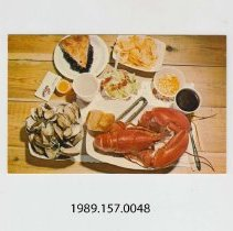 "Image of 1989.157.0048 - Down East Gourmet's Delight ""Shore Dinner"" famed throughout the World as New England's Greatest Contribution in delightful food"