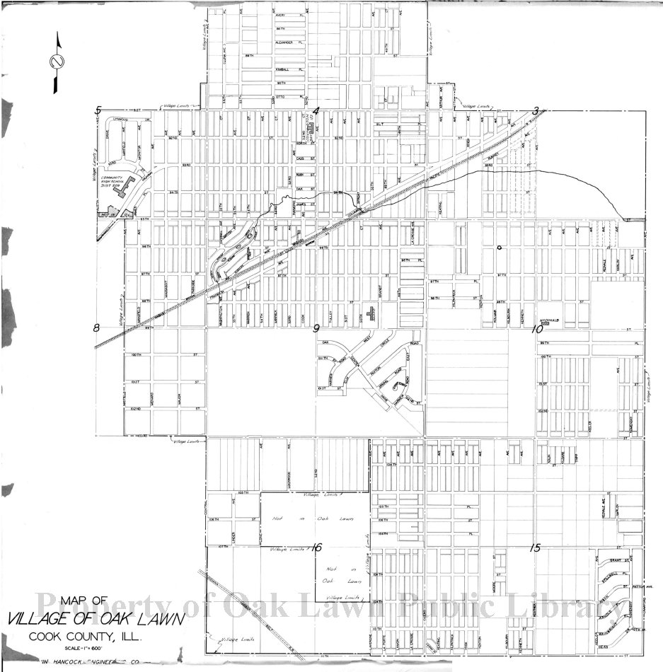 1950 Circa Map of Oak Lawn This item is a map of Oak Lawn