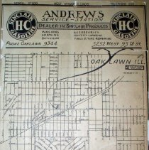 Image of 1951 Map of Oak Lawn - This item is a map of Oak Lawn from Andrew's Service Station and Sinclair Gasoline.  The item is mounted on a piece of cardboard, and there is a street index at the bottom of the map.