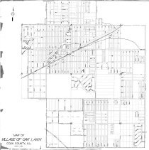 Image of 1950 (Circa) Map of Oak Lawn - This item is a map of Oak Lawn featuring several highlights such as Oak Lawn Lake and Oak Lawn Community High School.  The item is glued to a piece of cardboard.
