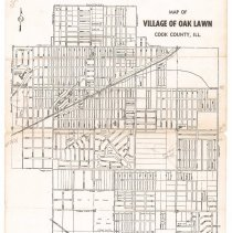 Image of 1950 (Circa) Map of Oak Lawn - Map of Oak Lawn from around 1950.  There are several pencil markings and it is printed in black and white.