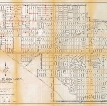 Image of 1967 Map of Oak Lawn - Map of Oak Lawn prepared by the The Office of the Village Engineer in April of 1967.  There are a number of red dots on the map meant to represent proposed street lights on existing utility poles.  The map itself was last revised in May of 1966.