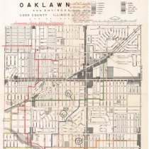 Image of 1962 Map of Oak Lawn - Zoning map of Oak Lawn displaying an alternate water distribution plan.  It has green, red, orange, blue, yellow and lime green markings.  The item was prepared for the Village of Oak Lawn in January of 1958 but revised in September of 1962 by Edwin Hancock Engineering.