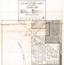 Image of 1964 Map of Oak Lawn's Southwest Sector - Oak Lawn southwest sector zoning map prepared by the office of the village engineer G.F. Gibelhausen in January of 1964.  There are red and green marks on the map, it has been folded, and there is a key near the top.