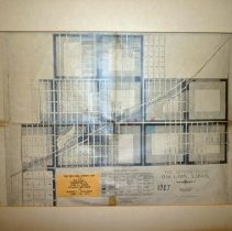 """Image of 1927 Map of Oak Lawn - Map of the 1927 zoning plan for Oak Lawn, drawn by Jacob L. Crane Jr. of George F. Ingalls Associate.  The map is mounted on a cardboard frame, has red and blue coloring on it, and a card which states """"The Original Zoning Map of Oak Lawn Presented To Fred M. Dumke, Village President, by Warren L. Schlieske September 18th, 1974"""".  There are several pieces of tape on the back."""