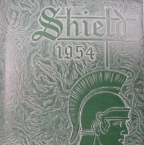 "Image of Shield, 1954 - This item is an Oak Lawn Community High School yearbook from 1954.  It has a green leather-like cover with a raised image of a Spartan soldier and ""Shield 1954"" above it."
