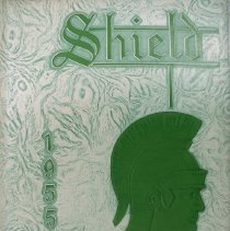 "Image of Shield, 1955 - This item is an Oak Lawn Community High School yearbook from 1955.  It has a white and green leather-like cover with ""Shield 1955"" in raised lettering and an image of a Spartan soldier."