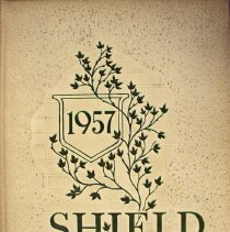 "Image of Shield, 1957 - This item is an Oak Lawn Community High School yearbook from 1957.  It has a beige cover with dark green lettering and features the word ""Shield"" near the bottom."