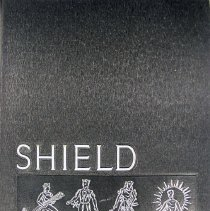 Image of Shield, 1959 - This item is an Oak Lawn Community High School yearbook from 1959.  The cover is black with white lettering and features four different images on the front.