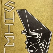 Image of Shield, 1962 - This item is an Oak Lawn Community High School yearbook from 1962.  It has a gold cover with white lettering outlined in black, and features an image of a Spartan on the cover.
