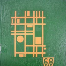 Image of Shield, 1968 - This item is an Oak Lawn Community High School yearbook from 1968.  It has a texturized green cover with orange geometric shapes.