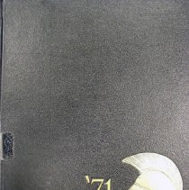 Image of Shield, 1971 - This item is an Oak Lawn Community High School yearbook from 1971.  The cover is black with gold lettering and a profile image of a Spartan warrior.