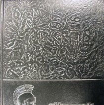 Image of Shield, 1977 - This item is an oak Lawn Community High School yearbook from 1977.   It features a black texturized cover with a profile image of a Spartan soldier.