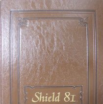 Image of Shield, 1981 - This item is an Oak Lawn Community High School yearbook from 1981.  The cover is brown with raised gold lettering.