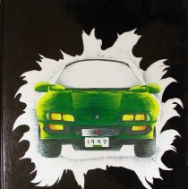 "Image of Shield, 1997 - This item is an Oak Lawn Community High School yearbook from 1997.  The cover is black with yellow lettering and features a green car ""bursting"" through the center."