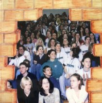 Image of Shield, 2002 - This item is an Oak Lawn Community High School yearbook from 2002.  The cover is made to look like a brick wall opening to a picture of students sitting on bleachers.