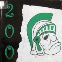 Image of Shield, 2004 - This item is an Oak Lawn Community High School yearbook from 2004.  The cover is black with green lettering and a cartoon drawing of a Spartan soldier.
