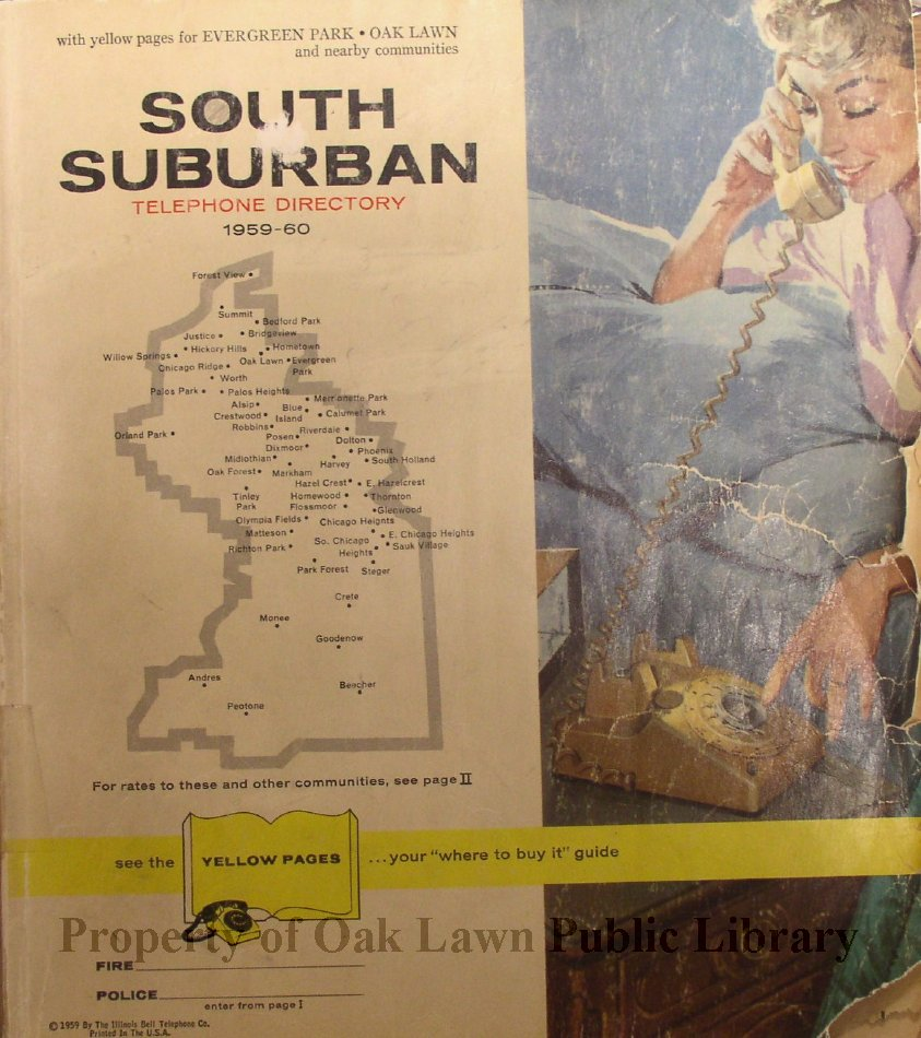 1959-1960, South Suburban Telephone Directory - This item is