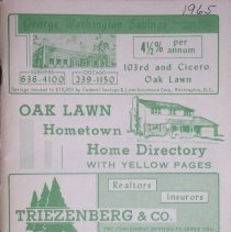 Image of 1965, Oak Lawn Hometown Home Directory - This item is a 1965 Oak Lawn and Hometown Home Directory with Yellow Pages.  The cover is in green and white with various images.