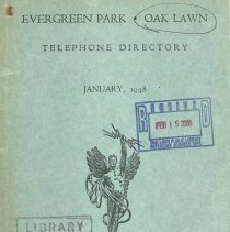 Image of 1948, Evergreen Park - Oak Lawn Telephone Directory - This item is a telephone directory for Evergreen Park and Oak Lawn published in January of 1948.  The cover is green with black lettering and an image of a statue.
