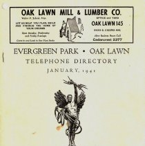 Image of 1941, Evergreen Park - Oak Lawn Telephone Directory - This item is a telephone directory for Evergreen Park and Oak Lawn printed in January of 1941.  The cover is beige with black lettering and images.